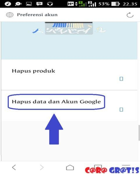 Hapus data dan akun google
